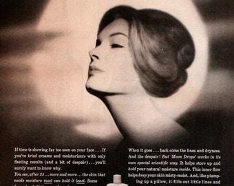 Revlon Moon Drops Ad - Cream - Serum - Lotion - 1960 - Retro Vintage Cosmetic & Beauty Advertising