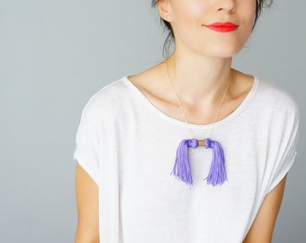 Summer Party Summer Outdoors Unique Gift Girlfriend Gift For Her Tassel Necklace Tassel Jewelry Statement Necklace Purple Necklace / MOOS