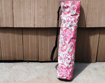 Yoga Mat Tote Bag Flowers Peace Signs Pink  White Cotton Twill Boho Hippie