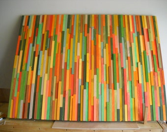 Modern wall art wood sculpture yellow, green, orange 36 x 48