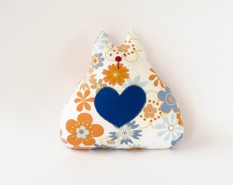 Floral cat soft toy, stuffed cat toy, cat stuffed animal, cotton cat pillow