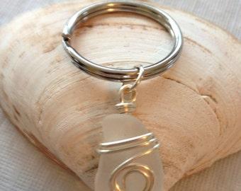 Sea glass key chain - key chain - sea glass - white sea glass - frosted white