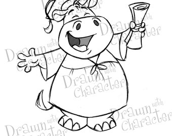 Happy Hippo Graduate Digital Stamp/ KopyKake Image-  SP52-HIPPOGRAD