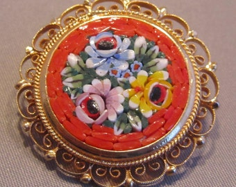 Vintage Italian Gold Toned Multi Colored Floral Micro Mosaic Brooch