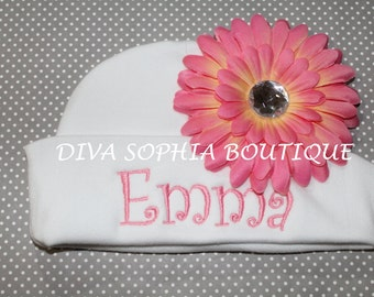 Personalized Baby Hat with Flower - Monogrammed Baby Beanie Hat