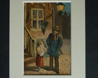 1880 Antique Hans Christian Andersen Print - Ib & Little Christina - Antique Wall Art Print - Victorian Picture - Danish Folk Tale Art Print