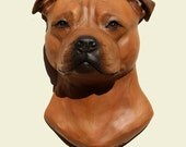 Hand painted red Staffordshire Bull Terrier dog Staff Staffy wall sculpture statue fine art relief painting