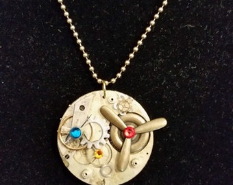 Steampunk Vintage Watch Works Propeller and Airplane Aviator Themed Necklace