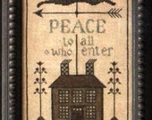 Primitive Cross Stitch - Peace House - Pattern Only or Pattern with Floss Kit
