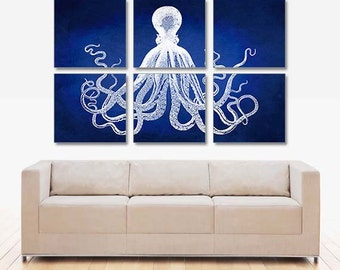 Extra Large Octopus Poster, Vintage Octopus Wall Art, Octopus Illustration,  Nautical Decor,