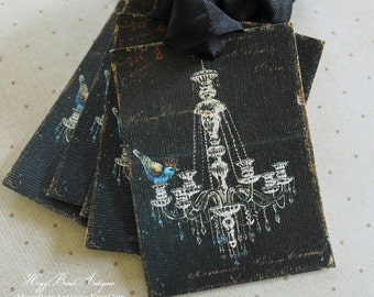 Gift Tags Chandelier Bluebird Crown Black Blue Paris Apartment French Shabby Chic Favor Farmhouse Decor