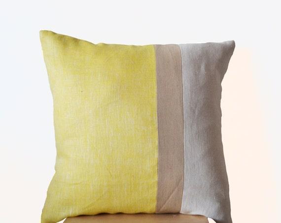 Yellow Pillow Cover Large Throw Pillows color block Euro