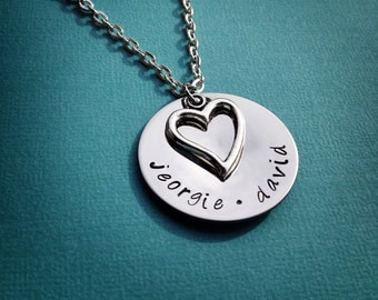"Personalized Hand Stamped Mothers Necklace - 1"" Stainless Steel with Heart Charm"