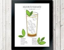 "Classic Cocktails ""The Mint Julep"" Art Print // 11 x 14 // Drink Recipe Poster Kentucky Derby Churchill Downs"