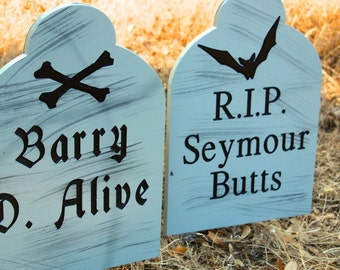 Halloween Tombstone Engraved in Wood