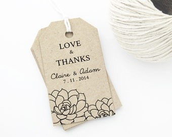 Wedding Gift Tags Template : Succulent Wedding Favor Tag Printab le, MEDIUM Tag Size, Wedding Tags ...