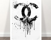 chanel print - chanel poster - chanel inspired - CC dripping - Coco Chanel liquidated logo - chanel art