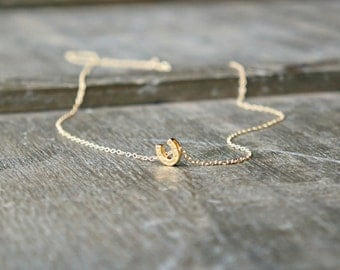 Gold Horseshoe Necklace / Tiny Horseshoe Pendant on a Gold Chain ... good luck lucky charm jewelry