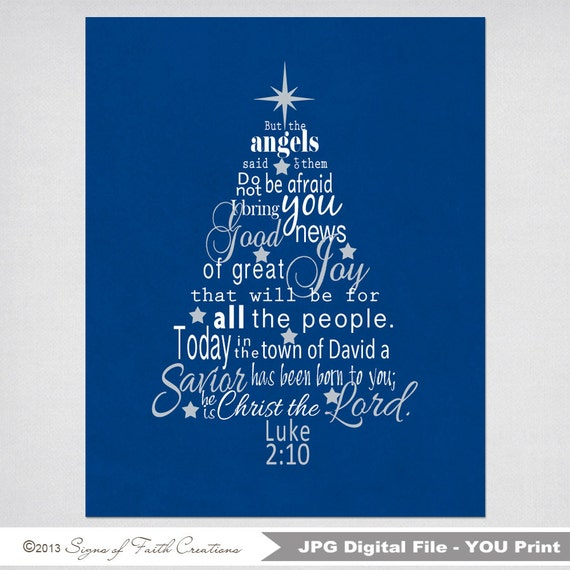 Luke 2 Bible Verse Christmas Tree Subway Art INSTANT