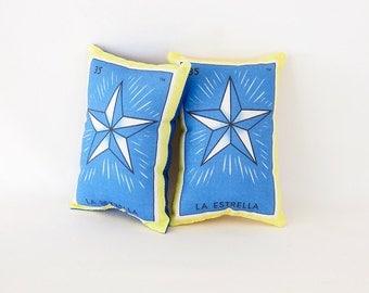 CLEARANCE: Estrella (star) Mexican Loteria Mini Pillow with Lavender - Dia De Los Muertos / Day of the Dead sachet, party favor