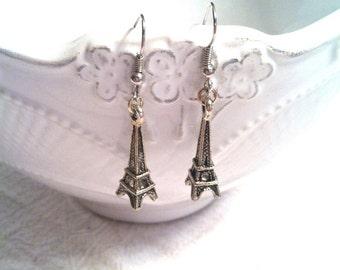 Eiffel Tower Earrings - Eiffel Tower Jewelry - Paris Earrings - Paris Jewelry - Parisienne Earrings (Lead and Nickel Free) SILVER