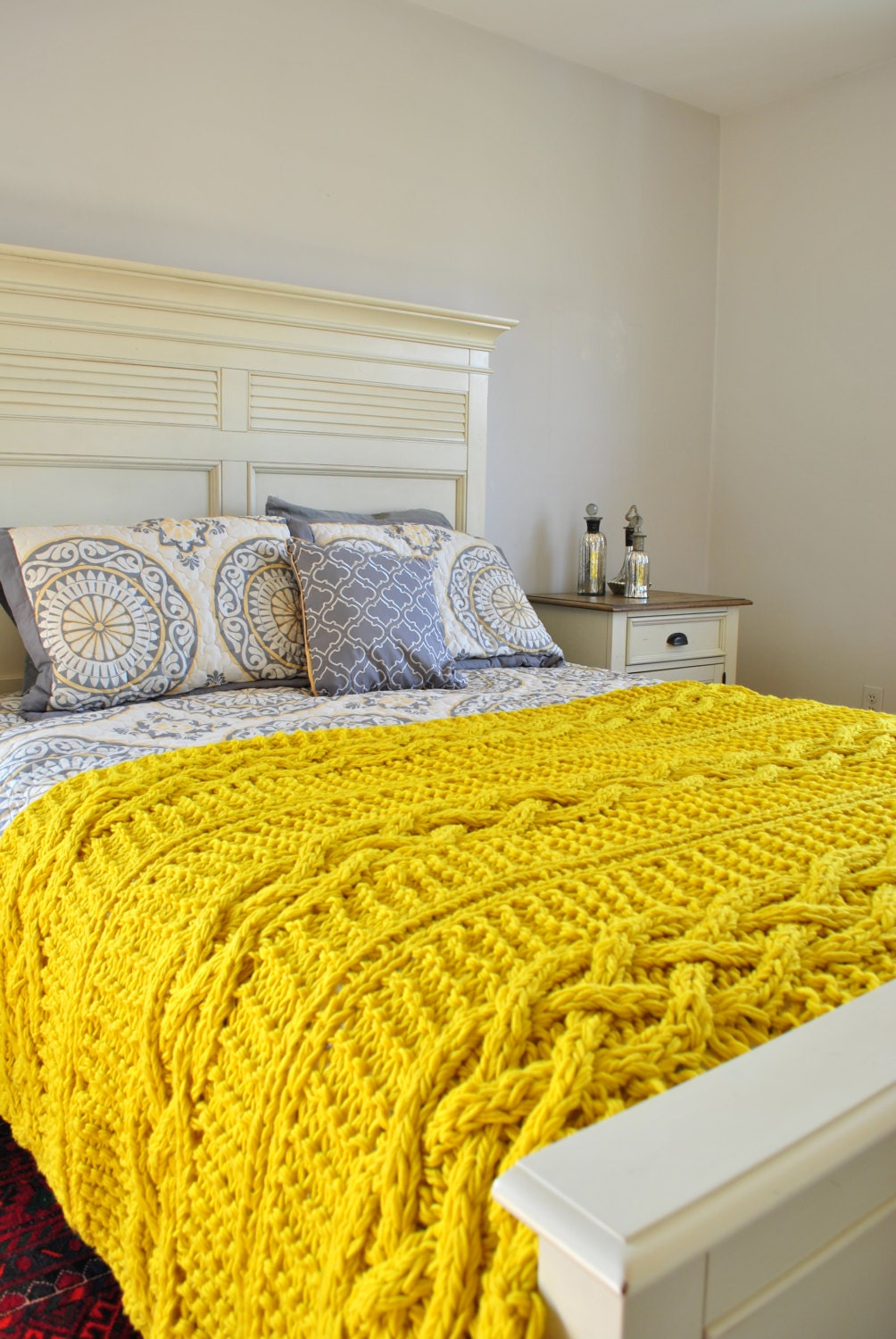 Chunky Cable Knit Throw Blanket In Yellow By Campkitschyknits