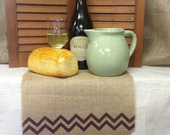 "Burlap Table Runner  12"", 14"" & 15"" wide Monogram with a chevron"