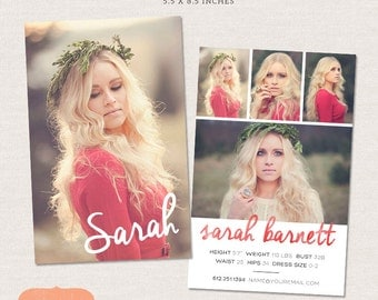 Model Comp Card Photoshop template - Watercolor Chic CM001 - Instant download