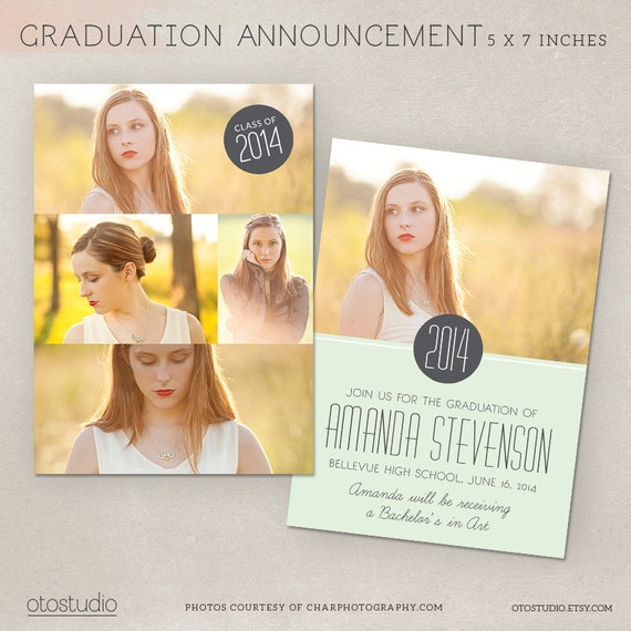 Graduation announcement template photoshop photo by otostudio for Senior announcement templates free