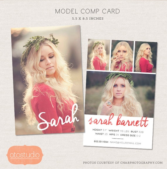 Model comp card photoshop template watercolor chic cm001 for Free comp card template