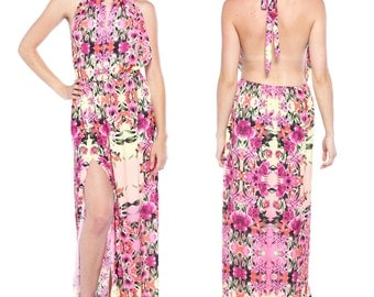 Colorful Floral Print Halter Backless High Slit Maxi Dress