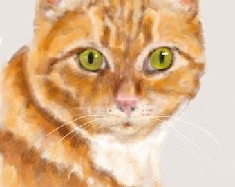 Custom Cat Portrait, Tabby, custom portrait, cat lover, cat art, pet memorial, cat memorial, artwork, wall art, art print, painting