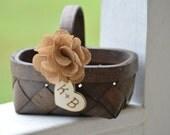 burlap flower girl basket, country flower girl basket, burlap wedding, rustic wedding decor B101
