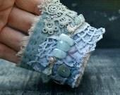 Fabric Boho Bracelet, Bohemian Wrist Cuff, Vintage lace, Vintage crochet, Art to Wear, Romantic Bracelet, Textile Jewelry.