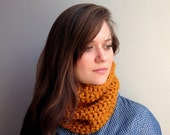 Yellow chunky crochet washable wool neckwarmer