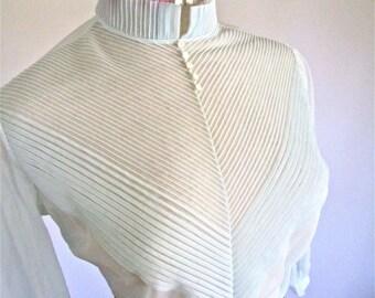 S - M, 40s 50s  Baby Blue Sheer Shirt Button Back Blouse Pin Tucks Puff Sleeves by Patty Woodard California
