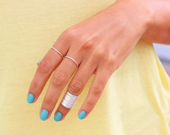 12  Stacking Rings - Knuckle Rings - Thin Knuckle Rings - Silver  thin rings -  Above Knuckle Ring -  stack midi rings set of 12 by Tiny Bo