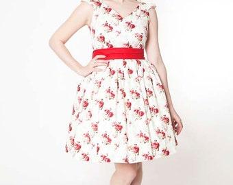 1950s floral prom dress, short floral bridesmaid dress, cap sleeve v neck dress, floral party dress, rehearsal dinner dress CUSTOM MADE