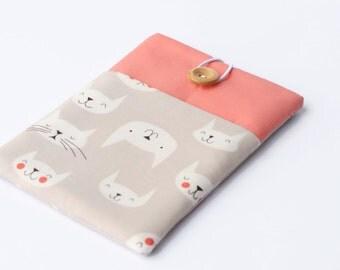 iPad case - iPad Pro cover - Cat iPad Mini sleeve - Custom tablet case with pocket for iPad Air 2, iPad Retina - Salmon Cats.