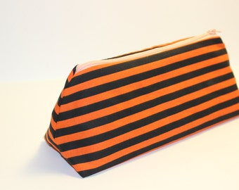 Striped Makeup Bag Pencil Case Orange and Black Horizontal Stripes