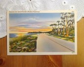 Vintage Postcard, Sunrise over one of Florida's Modern Highways - 1940s Paper Ephemera