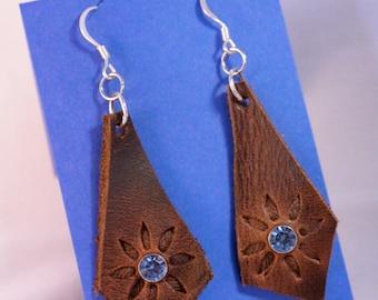 Diamond Flower Burst Leather Earrings with Rhinestones