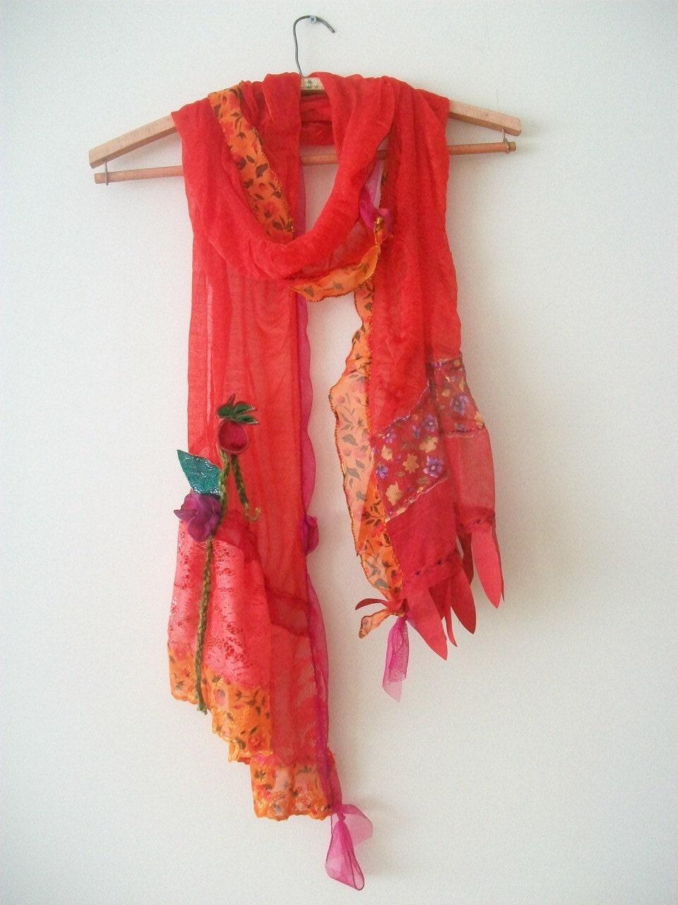 scarf silk scarf unique scarf lace scarf