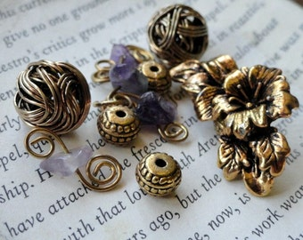 Antiqued Brass Beads & Pendant, Jewelry Making, Round, Flower Accent, Spacer, Wire Wrapped, Supplies