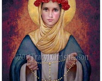 Our Lady of the Rosary Catholic Art Print Blessed Virgin Mary, Our Lady #4041