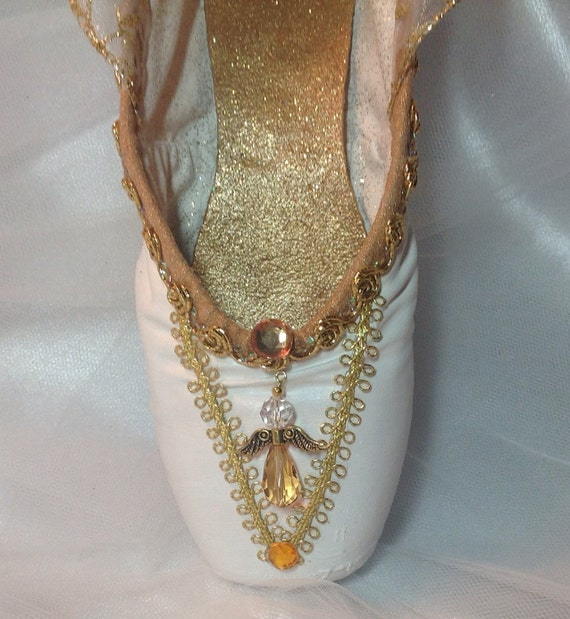 Nurcracker angel decorated pointe shoe for Ballet shoes christmas decoration