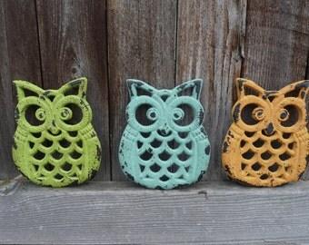 CHOOSE Color - Cast Iron OWL Trivet - Aqua or Yellow or Lime Green - Rustic Retro Home Decor - Distressed Metal - Kitchen Decor