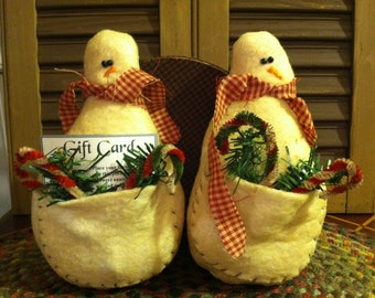Set of Two Primitive Christmas Snowman Gift Card Pocket Holder Ornaments or Bowl Fillers, Personalization Available