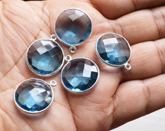 92.5 Silver Plated London Blue Quartz Coin Faceted Pendant  ,5 Piece of 19 mm