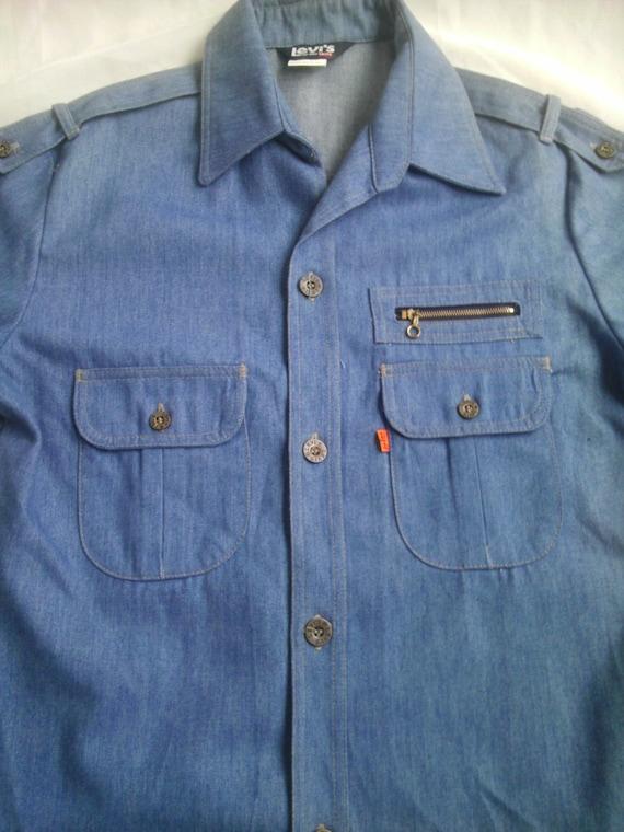 Vintage Levis Jean Jacket Orange Tab Denim Shirt Men Large Trucker Chambray Zipper Pocket Blue Spring long sleeve Epaulet Military RaRe EUC